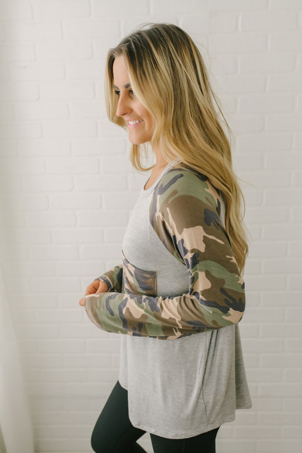 Camo Contrast Pocket Top - Heather Grey Multi