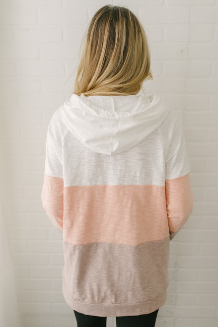 Daytime Dreamer Colorblock Hoodie - White/Peach/Mocha