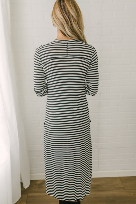 Button Down Striped Ribbed Duster Cardigan - Black/White - FINAL SALE