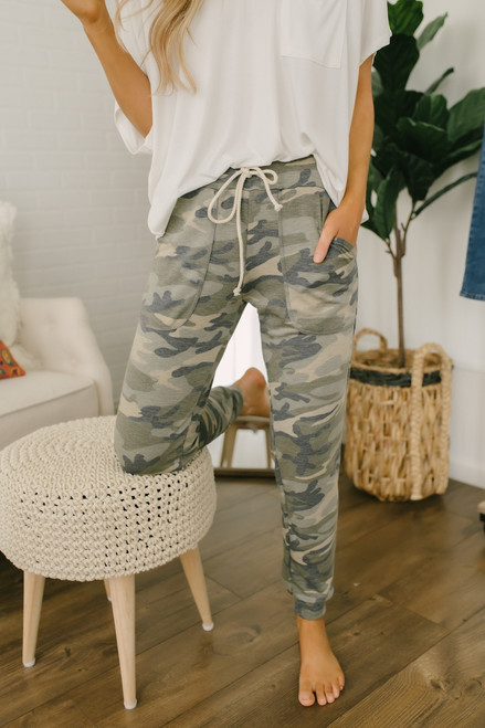 Drawstring  Pocket Camo Joggers - Olive Multi- FINAL SALE
