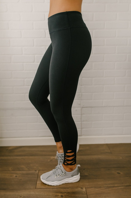 Set the Bar Criss Cross Detail Leggings - Black - FINAL SALE