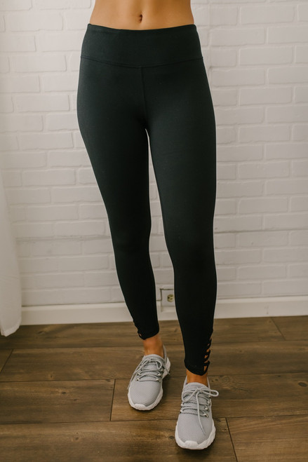 Set the Bar Criss Cross Detail Leggings - Black - FINAL SALE