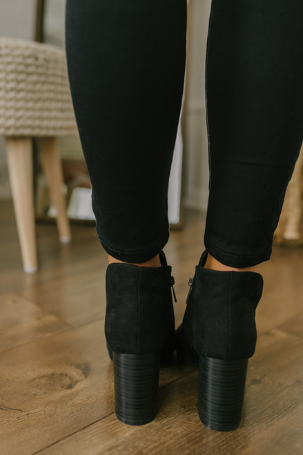 French Quarter Peep Toe Booties - Black