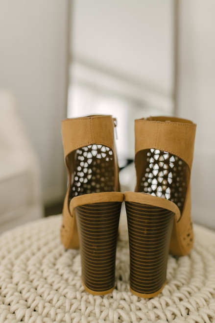 Destination Vacation Perforated Peep Toe Booties - Tan