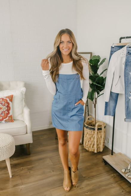 Dixie Darling Chambray Overall Dress - Blue - FINAL SALE