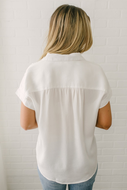 Everly Classic Button Down Top - White