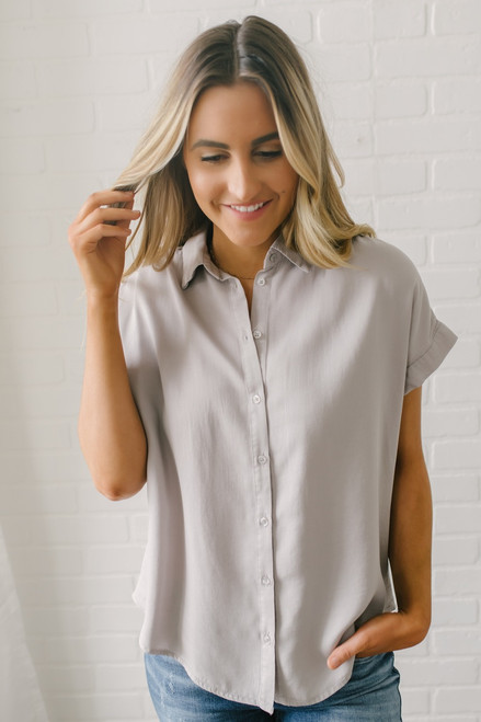 Everly Classic Button Down Top - Grey