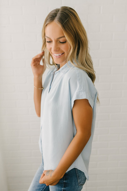 Everly Classic Button Down Top - Light Blue
