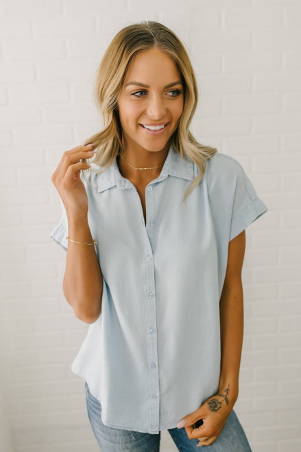 Everly Classic Button Down Top - Light Blue - FINAL SALE
