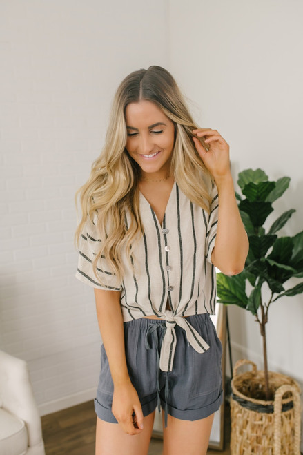 Button Down Striped Knot Top - Taupe/Black - FINAL SALE