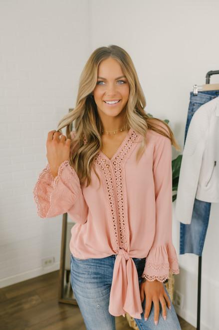 V-Neck Crochet Detail Knot Top - Blush