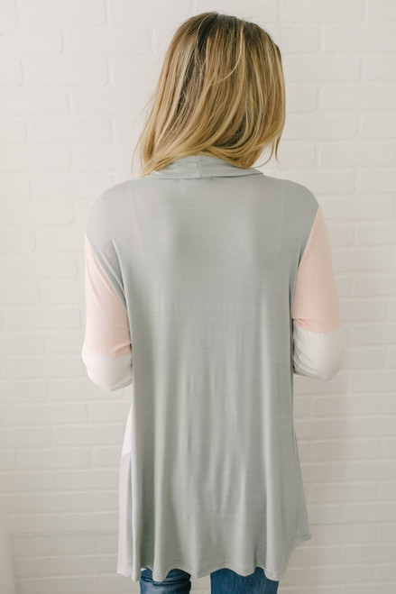 Asymmetrical Draped Colorblock Cardigan - Sage/Peach/White - FINAL SALE