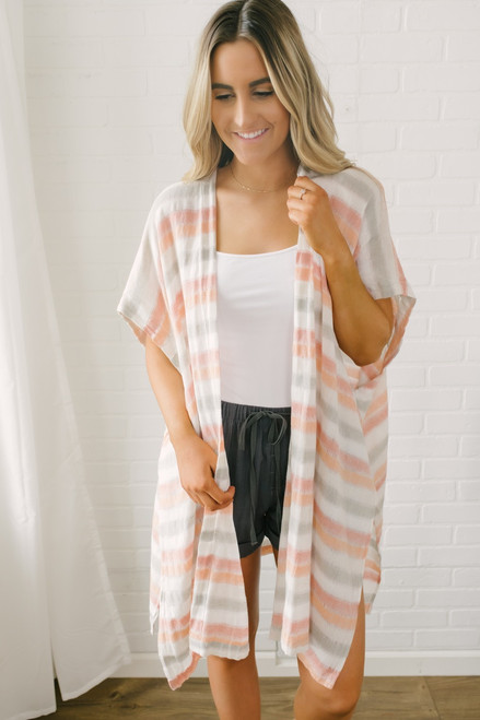 California Oasis Striped Linen Kimono - Pastel Multi