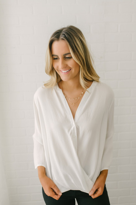 Everly Button Down Twisted Hem Top - White