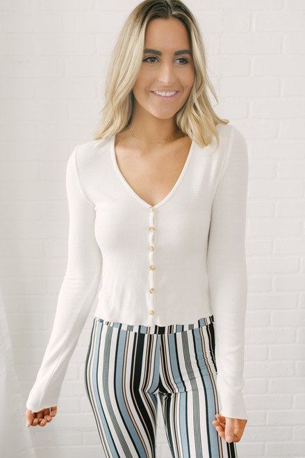 Ribbed Knit Button Down Cardi Top - White - FINAL SALE
