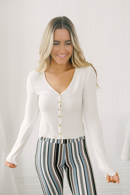 Ribbed Knit Button Down Cardi Top - White