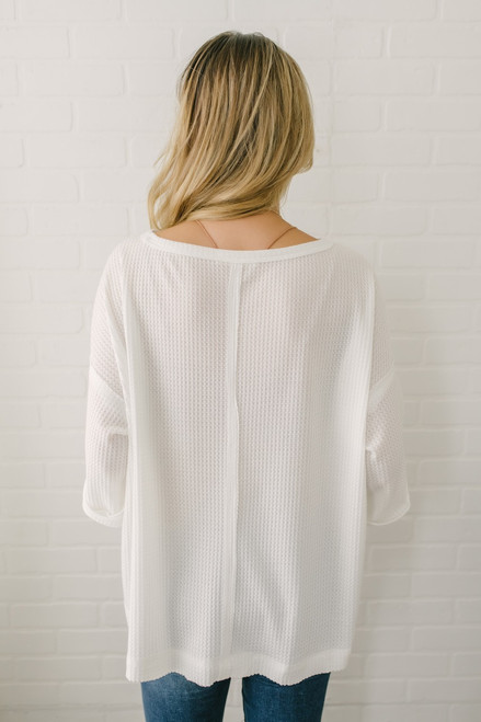 Seam Detail Waffle Knit Top - White - FINAL SALE