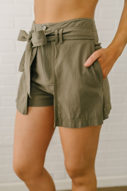 Tie Front Wrap Shorts - Olive - FINAL SALE