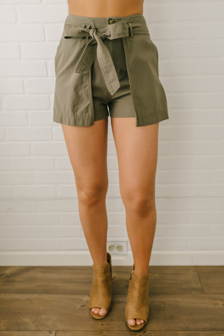 Tie Front Wrap Shorts - Olive