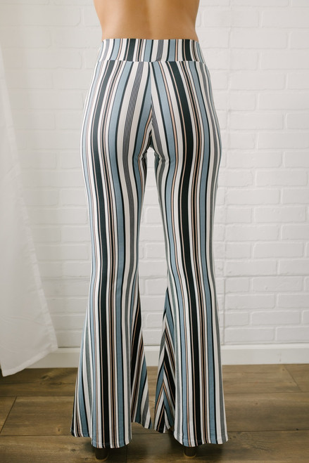 Hey Jude Striped Flare Pants - Grey Multi - FINAL SALE