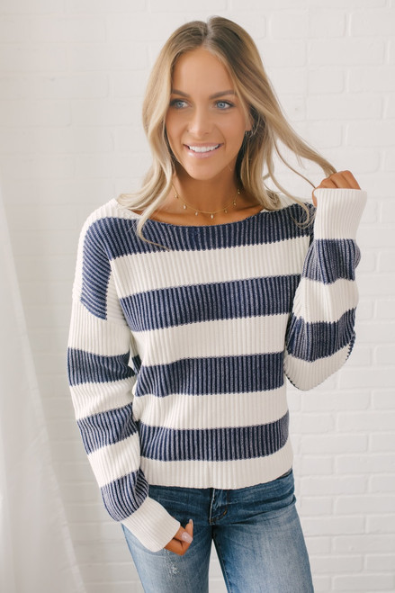 Open Back Stonewashed Striped Sweater - Navy/Ivory - FINAL SALE