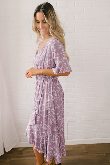 Faux Wrap High Low Floral Midi Dress - Lavender