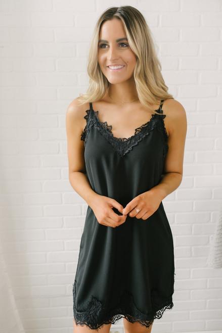 V-Neck Lace Detail Slip Dress - Black