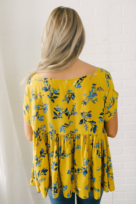 Short Sleeve Floral Babydoll Top - Mustard Multi - FINAL SALE