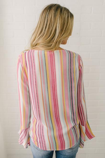 V-Neck Flare Sleeve Striped Knot Top - Rainbow Multi