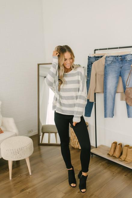 Elle Striped Open Back Sweater - Grey/Ivory - FINAL SALE