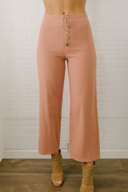 High Rise Button Detail Cropped Pants - Salmon - FINAL SALE