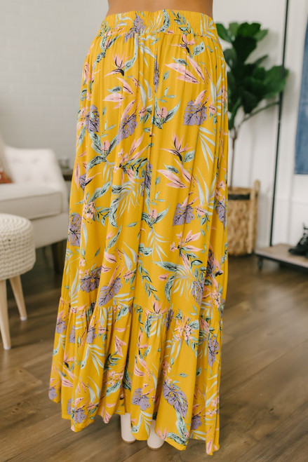 Faux Wrap Floral High Low Skirt - Mustard Multi