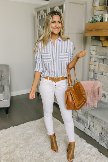 Button Down Striped Pocket Tunic - White/Blue
