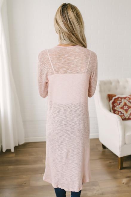 Evangeline Melange Knit Pocket Cardigan - Rose