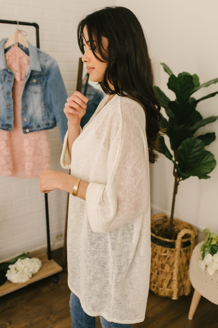 Fresh Air Cuffed Sleeve Cardigan - Cream - FINAL SALE
