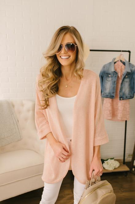 Fresh Air Cuffed Sleeve Cardigan - Pale Peach - FINAL SALE