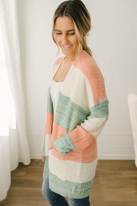 Thea Colorblock Pocket Cardigan - Ivory/Green/Coral - FINAL SALE