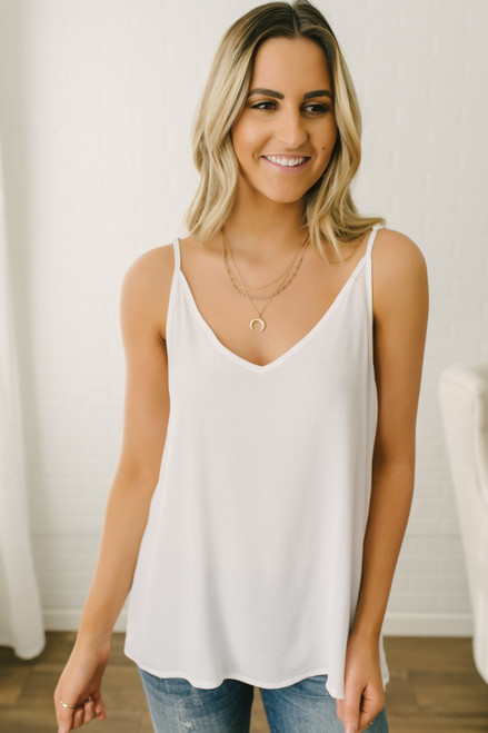 Stealing Your Heart V-Neck Tank - White