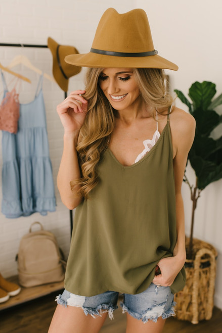 Stealing Your Heart V-Neck Tank - Olive