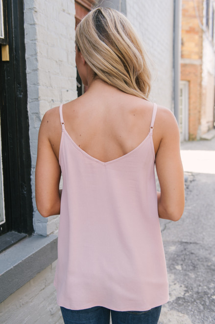 Stealing Your Heart V-Neck Tank - Blush