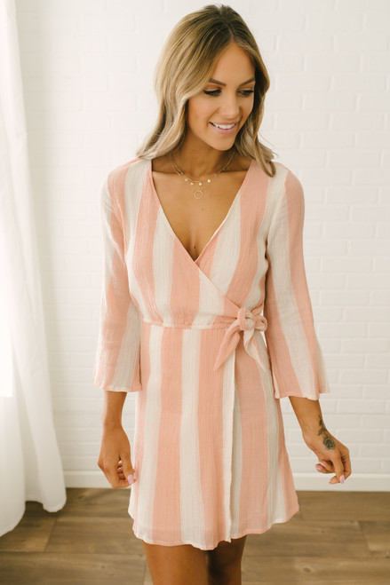 Sadie & Sage Faux Wrap Striped Dress - Canyon Sunset - FINAL SALE
