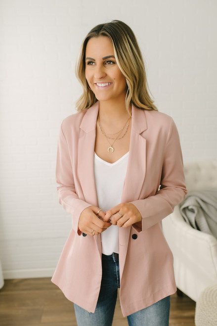 Sadie & Sage Double Breasted Blazer - Pink - FINAL SALE