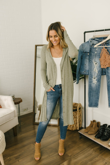 Button Down Melange Duster Cardigan - Olive - FINAL SALE