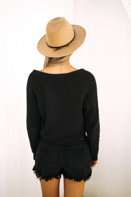 Free People High Low V Sweater - Black - FINAL SALE