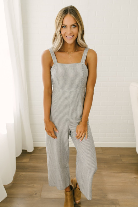 514e6ccaf810 Tie Back Striped Linen Jumpsuit - Denim Ivory