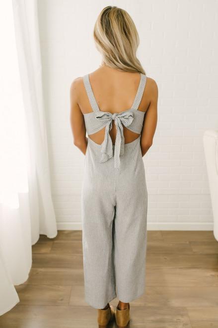 Tie Back Striped Linen Jumpsuit - Denim/Ivory - FINAL SALE