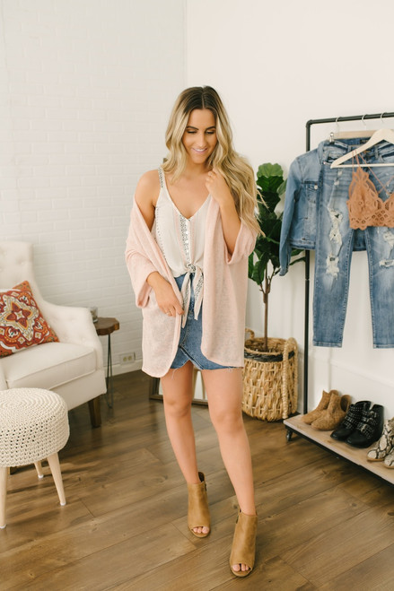 Embroidered Printed Button Down Knot Tank - Natural Multi - FINAL SALE