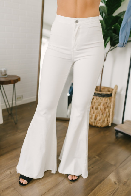 By Together Distressed Hem Faded Flare Jeans - White - FINAL SALE