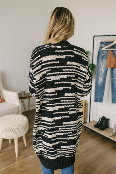 Zebra Striped Pocket Cardigan - Black/White - FINAL SALE