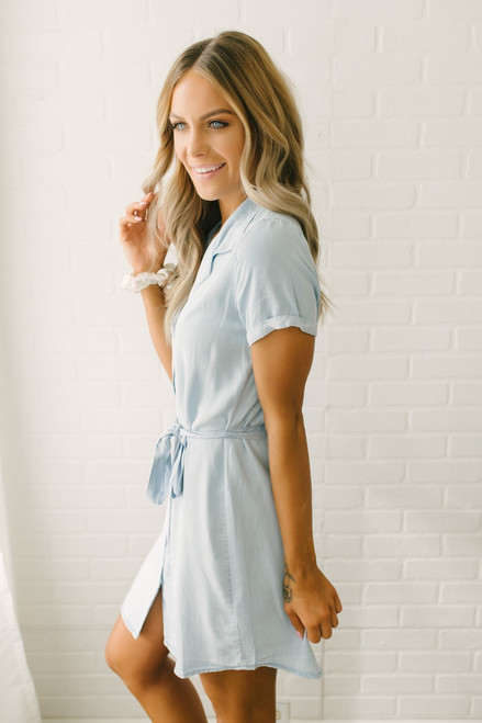 Everly Button Down Chambray Dress - Blue